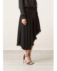 Lanvin Black Long Gored Wool Skirt - Lyst