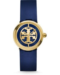 Tory Burch | Reva Goldtone Stainless Steel & Leather Strap Watch/navy | Lyst
