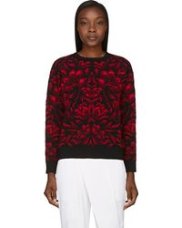 Alexander McQueen Red and Black Engin Flower Print Sweater - Lyst