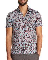 Ferragamo Giraffe-Print Cotton Sportshirt brown - Lyst