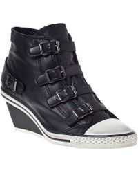 Ash Genial Wedge Sneaker Black/Black Leather - Lyst