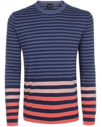 Paul Smith Petrol Blue Contrast-Stripe Sweater - Lyst