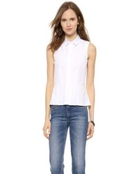 Victoria Beckham Sleeveless Sports Shirt - White - Lyst