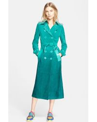 Burberry Prorsum Double-Breasted Suede Trench Coat - Lyst