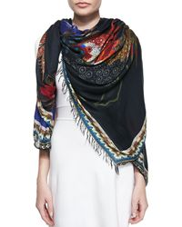 Etro Roosterfloral Print Fringe Scarf - Lyst