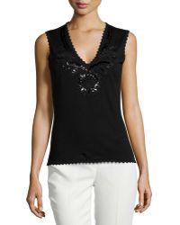Carolina Herrera Embellished V-Neck Shell black - Lyst
