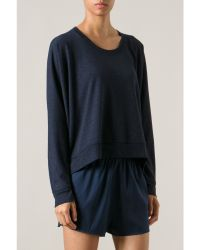 T By Alexander Wang Navy French Terry Sweatshirt - Lyst