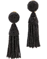 Oscar de la Renta Classic Short Tassel Earrings - Black - Lyst