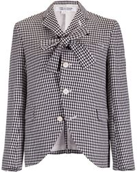 Comme des Garçons Tie Neck Buttoned Check Jacket Black/White - Lyst