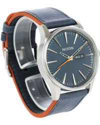 Nixon   Blue/orange Sentry Leather Watch   Lyst