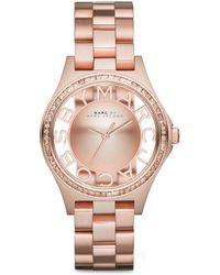 Marc By Marc Jacobs Henry Skeleton Glitz Rose Goldtone Stainless Steel Bracelet Watch - Lyst