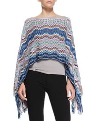 Missoni Zigzag Knit Poncho with Fringe - Lyst