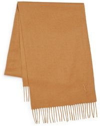 Saint Laurent Brown Wool Scarf - Lyst