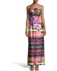 Sue Wong Strapless Floral Print Satin Maxi Dress - Lyst