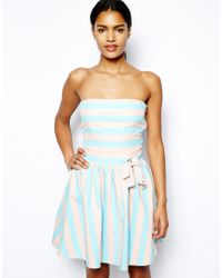 Love Moschino Strapless Skater Dress with Bow in Candy Stripe - Lyst