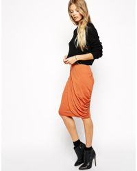 Asos Pencil Skirt With Drape Detail - Lyst
