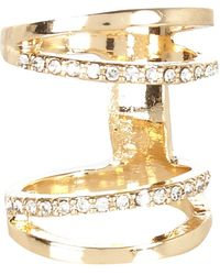 River Island Gold Tone Diamante Knuckle Ring - Lyst