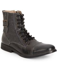 Steve Madden Fragments Leather  Canvas Lace-up Boots - Lyst