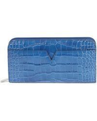 Vince - Blue Leather Croc Stamped Long Wallet - Lyst