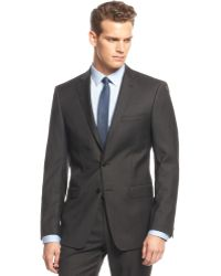Calvin Klein Big And Tall Black Mini-Striped Slim-Fit Suit - Lyst