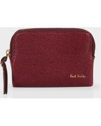 Paul Smith Burgundy Leather Zip Around Wallet purple - Lyst