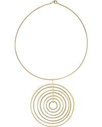 Michael Kors Statement Pave-Disc Pendant Necklace - Lyst