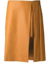 Thakoon Orange Pleated Skirt - Lyst