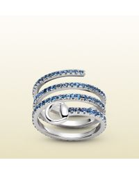 Gucci Horsebit Ring In White Gold And Sapphires blue - Lyst