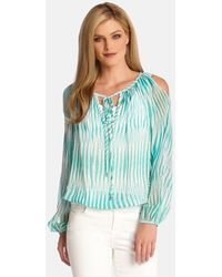 Karen Kane Cold Shoulder Blouse - Lyst