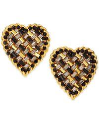 Jose & Maria Barrera Crystal Heart Clipon Earrings - Lyst