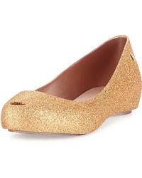 Melissa Ultragirl Iii Glitter Slipon Shoe Gold - Lyst