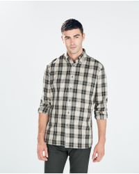 Zara Herringbone Check Shirt with Elbow Patches - Lyst