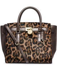 Michael Kors Hamilton Traveler Leopard Hair Calf Large Satchel - Lyst