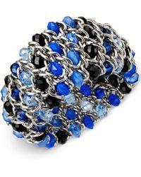 Style & Co. - Silver-tone Blue Bead Woven Chain Bracelet - Lyst