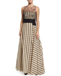 Carolina Herrera | Sleeveless Fil Coupe Striped Gown | Lyst