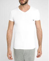 Emporio Armani White Short Sleeve V Neck Logo T Shirt white - Lyst