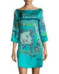 Versace 3/4-Sleeve Silk Print Shift Dress teal - Lyst