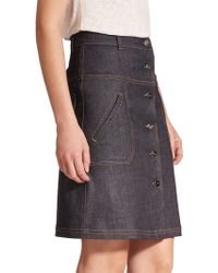 Carven | Denim Button-front Skirt | Lyst