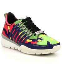DSquared² Camouflage-Print Leather Sneakers - Lyst