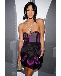 Coven Strapless Grey/Purple Dress - Lyst