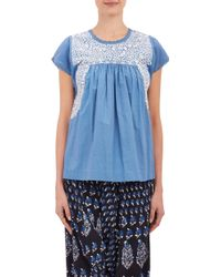 Ulla Johnson Embroidered Calla Babydoll Top - Lyst