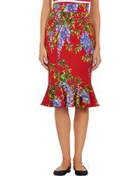 Dolce & Gabbana Floral Trumpet-Hem Pencil Skirt - Lyst