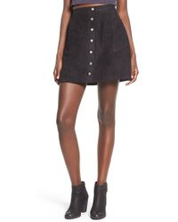 Love By Design - Buttoned Front Faux-Suede Skirt - Lyst