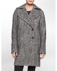 Calvin Klein Tweed Coat - Lyst