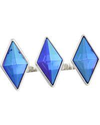 Guess Three Diamond Shape Stones 3 Finger Ring - Lyst