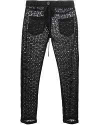 Ann Demeulemeester Sheer Jacquard Cropped Trousers - Lyst