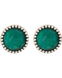 Lucky Brand - Silvertone Jade Stud Earrings - Lyst