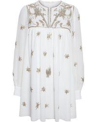 Saint Laurent Embellished Silk-Georgette Mini Dress - Lyst