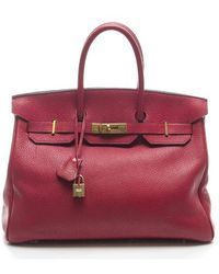 Hermès Pre-Owned Red Clemence Birkin 35Cm Bag - Lyst