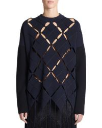 Proenza Schouler Argyle Cut-Out Sweater - Lyst